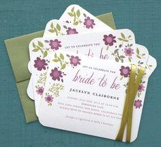Bridal Shower Invitation - Rustic, Floral, Flower, Purple, Green, Pretty, Garden, Spring, Summer. $55.00, via Etsy.