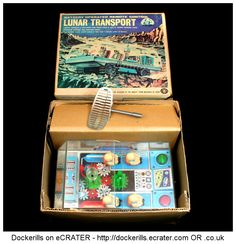 Lunar Transport, MASUDAYA, Japan (Picture 2 of 2). Vintage Tin Litho Tin Plate Toy. Battery Operated Remote Control Mechanism.