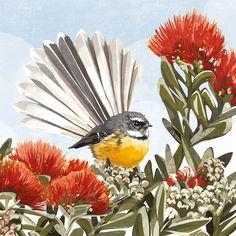 Artwork by Emma-Kate - Native birds of New Zealand - Artwork by Emma-Kate – Native birds of New Zealand - Irezumi Tattoos, Maori Tattoos, New Zealand Tattoo, New Zealand Art, Thai Tattoo, Kauri Tree, Flax Flowers, Bird Illustration, Illustrations