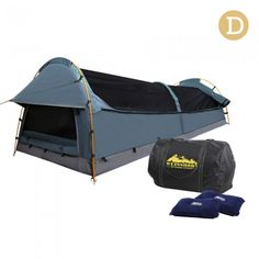 Double Camping Swag with Air Pillow - Navy