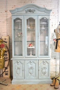 Painted Cottage Chic Shabby Aqua Romantic French China Cabinet C [CC635] - $695.00 : The Painted Cottage, Vintage Painted Furniture