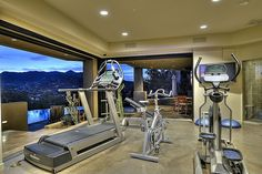 This sleek home gym has incredible exterior glazing for an impressive view from the room!