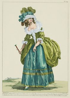 mimic-of-modes:  Young Lady, aimless in appearance, having a tender air, in a public promenade, of the signals that announce what reduces her leisures and daily occupations: her coiffure is a hatà la Minerveand a pulled-up taffeta gown.(1785) -Galerie des Modes, 46e Cahier, 4e Figure