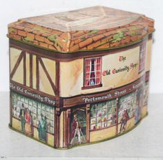 "OMG. need it. Charles Dickens The Old Curiosity Shop Building Tin Box Container Canister 3 5""T 