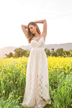 Julianna Cream Lace Tie Back Maxi Dress