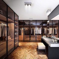 Beautiful Pinewood Closet Glass Doors And Perfect Lighting. Tag Someone Who  Needs A Closet Like This!   Unknown By Theluxhaus