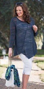 Plus size Box 2 navy linen fine knit jumper