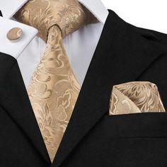 Brown Floral, Floral Tie, Gold Tie, Brown Tie, Mens Silk Ties, Men Ties, Paisley Tie, Cufflink Set, Men Formal