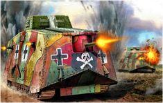 Sturmpanzerwagen A7V «Faust Konig» N° 503 con el esquema de camuflaje de mediados de 1918 y diseño de cruces simplificado. Valery Petelin. Más en www.elgrancapitan.org/foro