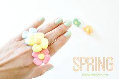 Polymer Clay Daisy Flower Rings