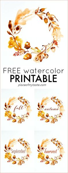 FREE WATERCOLOR THANKSGIVING PRINTABLE - Place Of My Taste