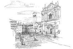 Rough but detailed piece from the main square of Brescia     Piazza Duomo Brescia, Italy 04.08.2015