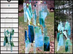 Blues and Greens Stained Glass Windchime  Indoor by BerlinGlass, $38.00