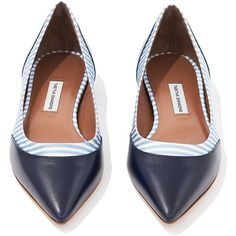 Leith Navy Stripe Flat ($625) ❤ liked on Polyvore featuring shoes, flats, zapatos, navy blue shoes, pointed toe flats, pointy toe flats, striped flats and flat heel shoes