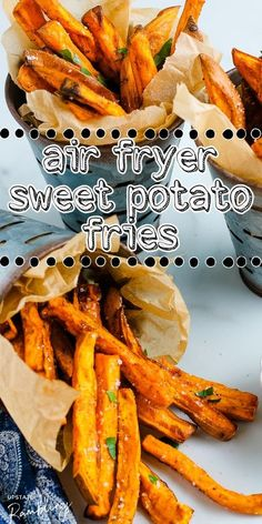 These tasty air fryer sweet potato fries are a fun and healthy alternative to french fries. Plus they just taste delicious! Making them in an air fryer allows you to enjoy sweet potato fry taste at home with fewer calories and less guilt. Air Fryer Dinner Recipes, Air Fry Recipes, Tofu Recipes, Grilling Recipes, Vegetarian Recipes, Healthy Recipes, Healthy Foods, Air Fryer Sweet Potato Fries, Potato Fry