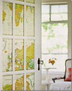 glass door covering with map