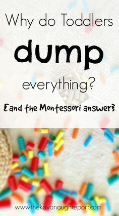 Food for Thought Why do toddlers dump everything? Some Montessori inspired answers for parents who find that all their children do is dump toys and materials and walk away. Montessori Classroom, Montessori Toddler, Toddler Play, Montessori Activities, Toddler Learning, Infant Activities, Toddler Preschool, Toddler Snacks, Baby Play
