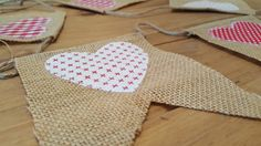 Burlap and fabric bunting. Homespun bunting by Twiddliebits on Etsy