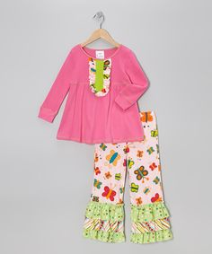 Take a look at this Hot Pink Ruffle Babydoll Top & Butterfly Pants - Toddler & Girls on zulily today!