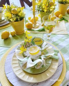 Dining Delight: Mother's Day Lemon Themed Tablescape Yellow Dinner Plates, Mothers Day Dinner, Lemon Party, Dinner Party Table, Lemon Kitchen, Party Table Decorations, Table Flowers, Deco Table, Dinner Sets