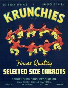 carrot conceptual art   Krunchies Carrots Crate Label Salinas California 1940   eBay