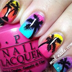 Palm tree nails! In loveee