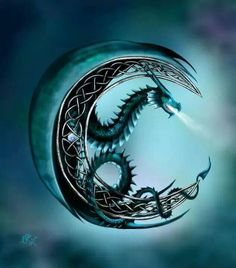 Moon dragon tattoo idea