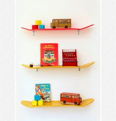 DIY: Skateboard shelves for boys room