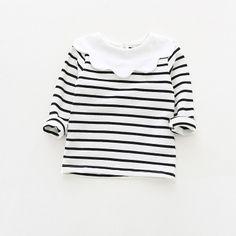 97dfcf1a74 Dudu Cream Girls Flower Collar Cotton T Shirt Children Stripe Bottoming Shirt  Tops