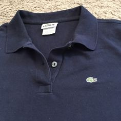 Navy Short sleeve Lacoste polo Navy short sleeve women's Lacoste polo. Size 44 (size large converted). Lacoste Tops