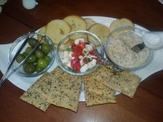 another antipasto platter with homemade humus