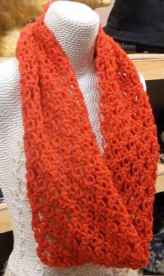 Infinity Scarf Chunky Lace Red Cowl Scarf by AtelierRaniera, $30.00