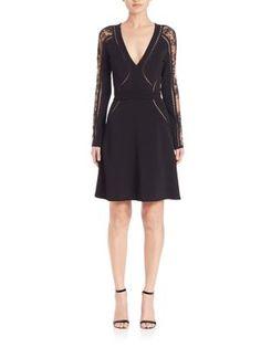 ELIE SAAB Perforated Knit Fit-And-Flare Dress. #eliesaab #cloth #dress