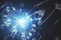 R… Abstract glowing astrologic zodiac horoscope background.