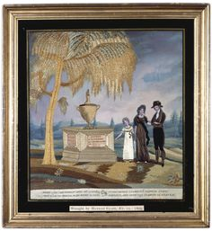 Fine and Rare Embroidered and Painted Silk Mourning Picture, Hannah Clapp, Massachusetts, dated 1809 Elegantly worked in silk stitches and ...