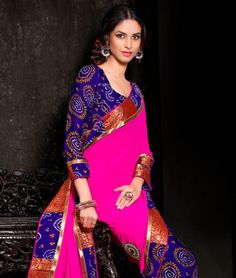 The traditional look that will embrace your beauty and make heads turn! This collection exhibits gorgeous and stunning designs and styles that will bring out the best in you. Add these delightful pieces to your ethnic wear collection. BRAND: BrijrajCATEGORY: Saree with Unstitched BlouseARTICLECOLOURMATERIALLENGTHSareePink and BlueHalf Georgette Half Crepe5.40 metersBlouseBluePoly Georgette0.80 meterCARE INFO: Hand Wash OnlyWe would always want to send you what we showcase but there might be…