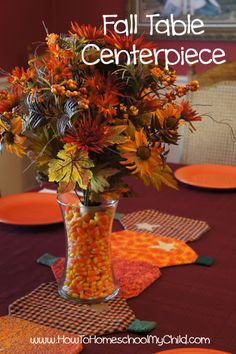 Fall Centerpieces with Candy Corn - Thanksgiving Table Decorations {30 Days of Thanksgiving Activities for Kids}   ~   HowToHomeschoolMyChild.com