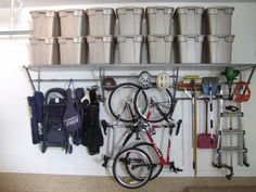 Gorgeous Garage crafts industry leading garage storage solutions including our innovative Monkey Bar Storage System. Contact a dealer to get your garage organized! Garage Ceiling Storage, Garage Storage Systems, Garage Shelving, Wall Storage, Wall Shelving, Shelving Ideas, Hanging Storage, Overhead Storage Rack, Bike Storage