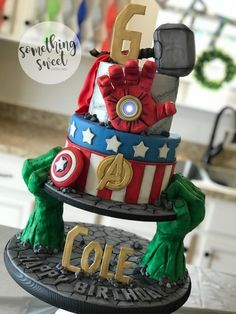 Avengers Cake - http://cakesdecor.com/cakes/306819-avengers-cake
