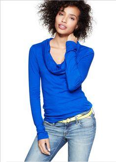 Gap  outfit idea. Yep, got a blue cowl neck and yellow belt. Cute weekend look