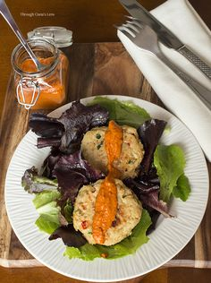 Healthy baked lump crab cakes with red pepper chipotle sauce recipe ...