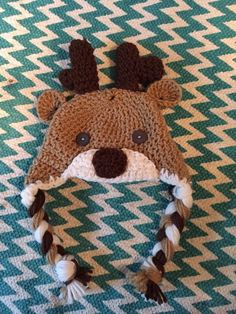 Crocheted deer hat by CraftyDiva23 on Etsy