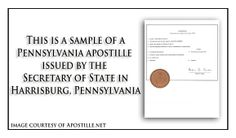 This Is A Sample Of A Pennsylvania Apostille Issued By The