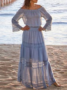 Lace Off-The-Shoulder Long Sleeves Oversized Long Dress - Power Day Sale#newin #newarrivals #justdropped #newseason #fashionintrend Blue Dresses, Casual Dresses, Summer Dresses, Winter Dresses, Evening Dresses, Prom Dresses, Wedding Dresses, Off Shoulder Casual Dress, Off The Shoulder