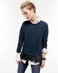 DEC '15 Style Guide: J.Crew women's sweatshirt with fringe hem, Thomas Mason® for J.Crew boy shirt, toothpick Cone Denim® jean in classic rinse, pearl cluster earrings, crystal and leather cuff bracelet and small hinge bracelet.