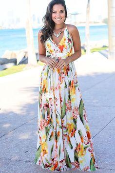 Women Maxi Floral Print Wrap Crisscross Back V Neck Casual White Dress - XL Mode Style, Sexy Dresses, Sleeveless Dresses, Maxi Dresses For Summer, Women's Maxi Dresses, Long Floral Dresses, Bohemian Summer Dresses, Floral Dress Outfits, Maxi Dresses