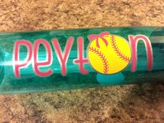 Personalized softball name decal for a helmet bats or water bottle car windows or anything else you can think of! Softball will be included Girls Softball Quotes, Girls Softball Room, Softball Gifts, Softball Pictures, Softball Mom, Room Girls, Quotes Girls, Softball Stuff, Cheerleading Gifts