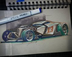 """934 Me gusta, 17 comentarios - Dwayne Vance (@dwaynevance) en Instagram: """"Finished up the rendering on the the future hot rod design. Using Copic markers, prismacolor and…"""""""