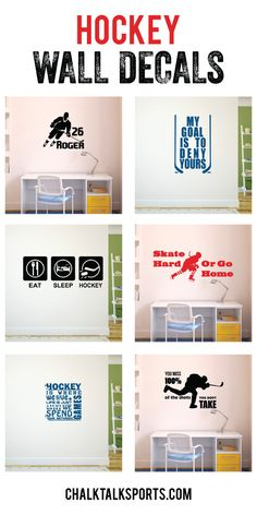 Transform any space into a custom hockey room with our hockey inspirational wall decals and our personalized hockey wall decals! Make sure everyone knows how much you love hockey when they walk into your room! Only from ChalkTalkSPORTS.com!