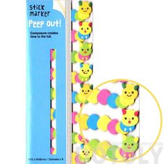 Hungry Caterpillar Shaped Peep Out Memo Post-it Sticky Tabs from Japan   Animal Themed Stationery